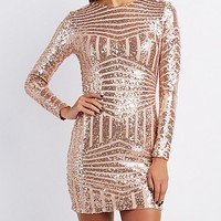 Sequin Cut-Out Back Bodycon Dress