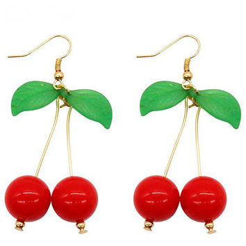 Rockabilly Cherry Drop Earrings