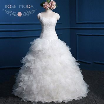 Rose Moda Feather Wedding Dress Strapless Organza Ball Gown Lace Up Back White Debs Dress Real Photos