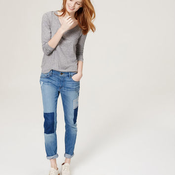Petite Relaxed Skinny Jeans in Patched Dark Indigo Wash | LOFT