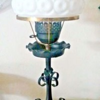 Vintage LE Smith Moon Stars White Shade Black Wrought Iron Base GWTW Lamp