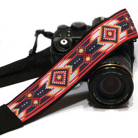 Native American Camera Strap (inspired). DSLR Camera Strap. Black and Red Camera Strap. Camera Accessories