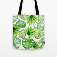 tropical leaves Tote Bag by sylviacookphotography