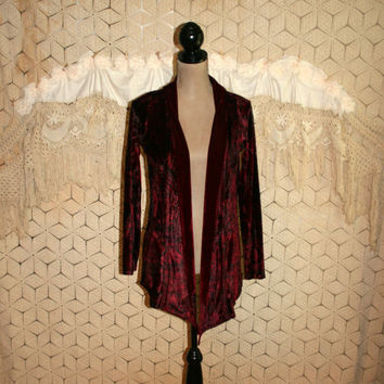 Bohemian Clothing Romantic Velvet Jacket Gypsy Boho Red Size Small Open Jacket Long Burgundy Black India Print Duster Womens Clothing