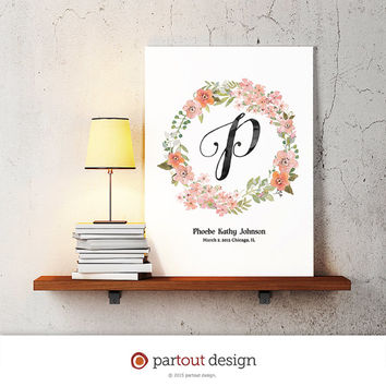 baby nursery art floral monogram watercolor logo personalized baby name initial art print printable art nursery decor nursery art letter