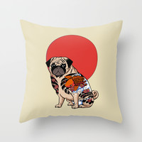 Yakuza Pug Throw Pillow by Huebucket