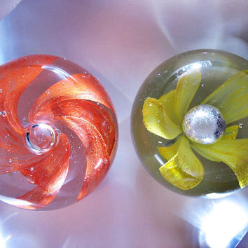 Pair of Vintage Handmade Art Glass Paperweights...