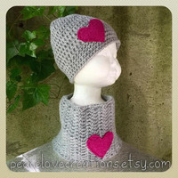 Crochet Beanie and Neck Cowl with Felt Heart Set(Grey w/Pink Heart)~Ready to Ship~FREE SHIPPING