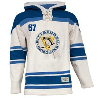 Old Time Hockey Pittsburgh Penguins Lace Jersey Team Hoodie - White