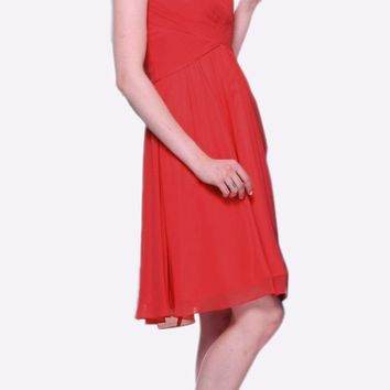 Short Bridesmaid Red Dress Knee Length Pleated Bodice