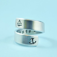 i refuse to sink - Hand Stamped Spiral Ring, Anchor Ring, Sailboat Ring, Personalized Gift Ring, V2