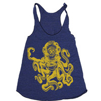 Womens Workout Tank - Octopus Diver Racerback Tank - Ladies Workout Fitness - Running Tank - Nautical Tank Top - Octopus - Gym Outdoors Tank