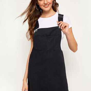 Solid Pinafore Dress