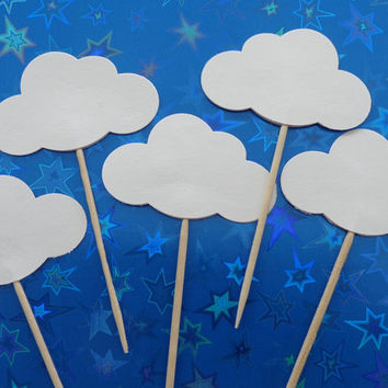 24 White Cloud Party Picks - Cupcake Toppers - Food Picks