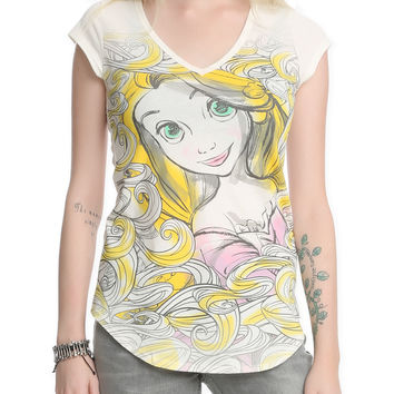 Disney Tangled Sketch V-Neck Girls T-Shirt