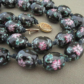Vintage Long Glass Flower Beaded Strand Necklace