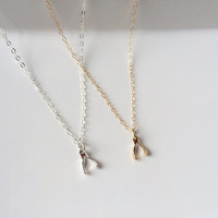 Wish • Tiny wishbone necklace // Wishbone necklace // Wishbone pendant