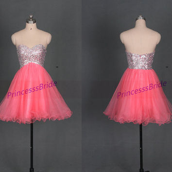 Short watermelon homecoming dresses sequins,2014 cute sweetheart tulle gowns for holiday party,chic cheap prom dress under 150.