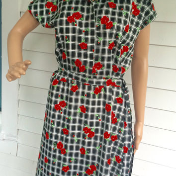 Plaid Mod Dress Black White Red Floral Print 70s Vintage Casual L XL