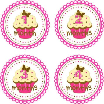 Baby Month Stickers Baby Monthly Stickers Girl Monthly Shirt Stickers Pink Brown Cupcake Shower Gift Photo Prop Baby Milestone Sticker
