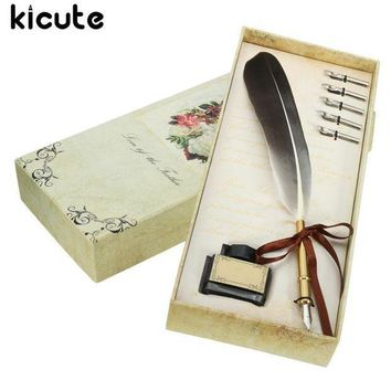 ESBONIS Kicute Black Vintage Quill Feather Dip Pen Writing Ink Set Stationery Gift Box With 5 Nib Wedding Gift Quill Pen Fountain Pen