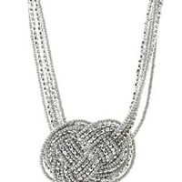 Silver Knotted Metallic Seed Bead Necklace by Charlotte Russe