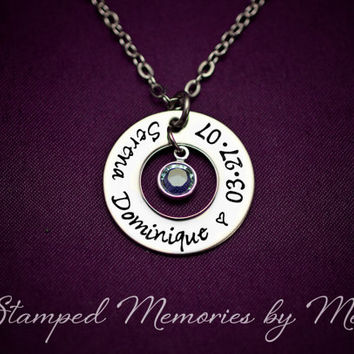 Kid's Name and Birthstone Washer Necklace with Date - Hand Stamped Mommy Jewelry - Personalized Mom, Grandma, Daughter, Sister Gift