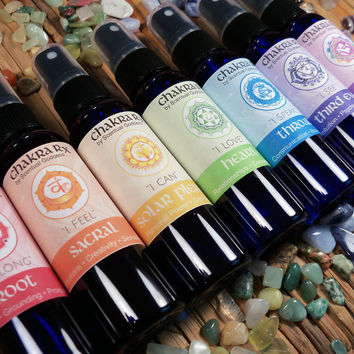 Chakra Sprays Set - Aromatherapy with Healing Crystals & Meditation to Work With Your Chakras