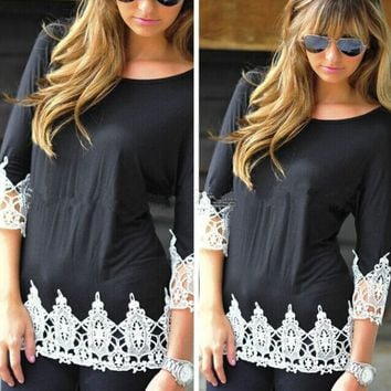 Black And White Lace Sleeve Shirt