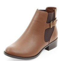 Tan Buckle Strap Side Chelsea Boots
