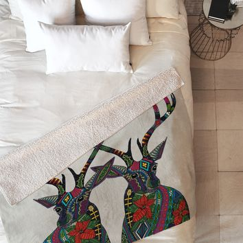 Sharon Turner Poinsettia Deer Fleece Throw Blanket