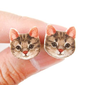 Brown Tabby Kitty Cat Face Shaped Animal Stud Earrings | Handmade Shrink Plastic