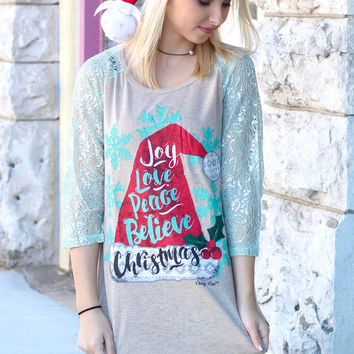Santa Hat: Joy, Love, Peace, Believe, Christmas Shimmer Sleeve Raglan - KIDS + ADULTS