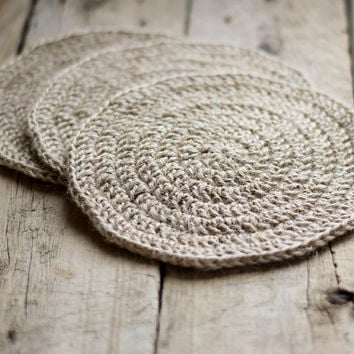 Eco friendly Hot Pad, a Set of 3, Jute Rustic Country Chic Trivet