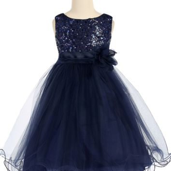 Girls Navy Sequin Party Dress w. Lettuce Tulle 16-20 Plus