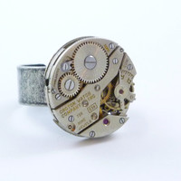 Industrial SteamPunk adjustable Maryann Ring with Vintage Watch Movement exposed gears by VictorianFolly