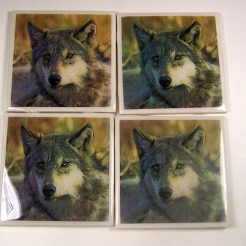 Decoupaged ceramic tile coasters wolf image set of four wall art  home decor items
