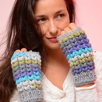 Multicolor fingerless mittens,  bright color crochet mittens, wool women's gloves, soft fingerless mitts, fall mittens, wool mittens.