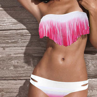 Pink and White Tassel Bikini Swimsuit Set