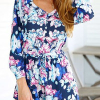 Blue Floral Pint Long Sleeve Romper