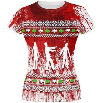 ONETOW Ugly Christmas Sweater Bloody Zombie Attack Survivor All Over Juniors T Shirt
