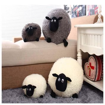 1 Piece Stuffed Plush Cushion Sheep Shaped Children Toy Doll Cute Pillow Living Room and Bedroom Decoration