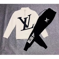 LV Louis Vuitton Trending Women Men Stylish Print Velvet Cardigan Jacket Coat Pants Trousers Set Two-Piece White