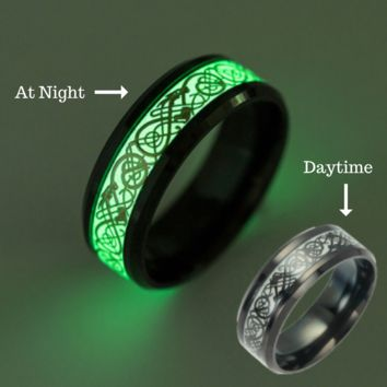 Couples Glow In The Dark Stainless Steel Rings (Set)