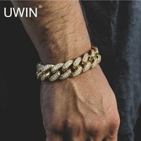 """UWIN Mens Iced Out 13.5MM Thick Heavy Gold CZ Curb Cuban Link Bracelet Copper Material Lab Rhinestone Clasp Chain Bracelet 8"""""""