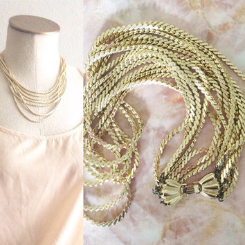 Gold Tone Multi-Chain Necklace | W. Germany | Disco Nights