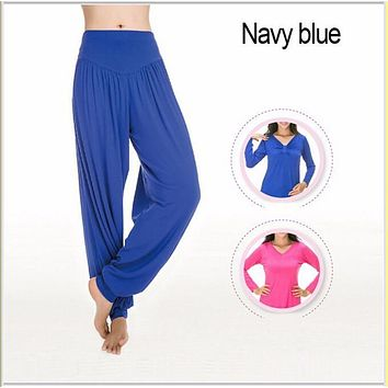 EAS  High Waist Stretch Women bloomers pants  Pants Dance Club Wide Leg Loose Long Trousers Bloomers Pants plus size