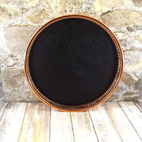 Vintage Coppercraft Guild Tray, Copper and Black Faux Leather Tray