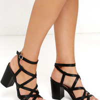 Round We Go Black Caged Heels