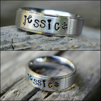 Personalized Ring - Hand Stamped Jewelry - Stamped Ring - Name Ring - 6mm Ring - Silver Ring - Custom Name Ring - Stainless Steel Ring
